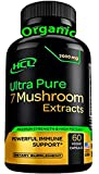 Organic Mushroom Supplement Extracts of Lions Mane Cordyceps Chaga Reishi Turkey Tail Maitake Shiitake Capsules - Natural Vitamins Minerals Antioxidants Supplement - Made in The USA