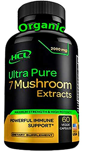 Organic Mushroom Supplement Extracts of Lions Mane Cordyceps Chaga Reishi Turkey Tail Maitake Shiitake Capsules - Natural Vitamins Minerals Antioxidants Supplement - Made in The USA