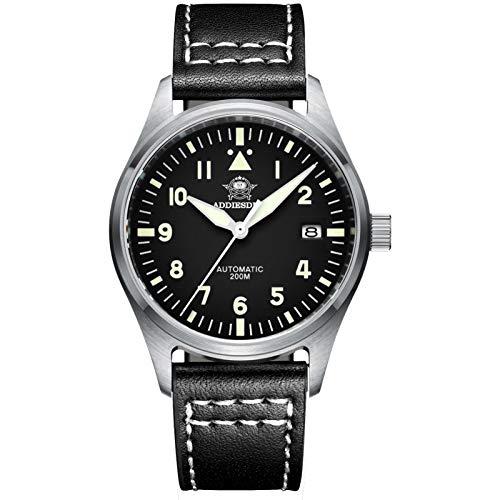 Orologio da Polso Uomo Eleganti,Movimento Automatico NH35A,Cinturino Pelle 20mm,Quadrante Analogico,Diver 200M