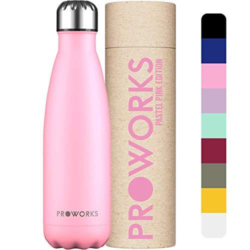 Proworks Botellas de Agua Deportiva de Acero Inoxidable | Cantimplora Termo con Doble Aislamiento para 12 Horas de Bebida Caliente y 24 Horas de Bebida Fría - Libre de BPA - 750ml - Rosa Pastel