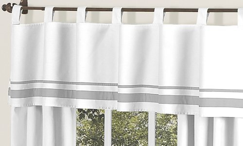 Sweet Jojo Designs White and Gray Hotel Modern Window Valance