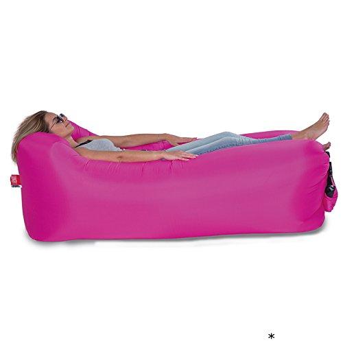 #0107 Luftsofa Lounger to go, platzsparend, mit Tragetasche Pink • Luftbett Luftmatratze Liege Sack Sitzsack Luftsack Sitz Strand