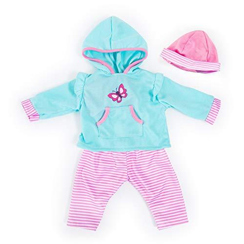 Bayer Design 84675AA Puppenkleidung für 40-46cm Puppen, Hose, Oberteil und Mütze, Set, Outfit mit Schmetterling, türkis, rosa