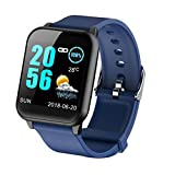 Tomasa Bluetooth Smart Watch,Volle Touchscreen Smart Armbanduhr,Wasserdicht IP67 Fitness Tracker Kompatibel iOS Android für Männer, Frauen, Kinder (Blau)