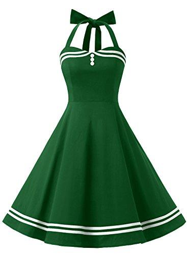 Timormode Vestido Cóctel Corto Vintage 50s Cuello Halter Vestido De Fiesta Rockabilly Mujer Armygreen XS