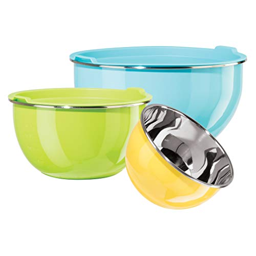 Oggi Stainless Steel Mixing Bowls Set of 3, Multicolor
