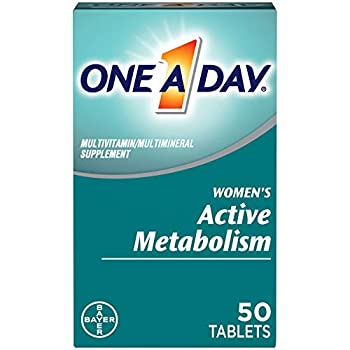 One A Day Women's Active Metabolism Multivitamin Supplement with Vitamin A Vitamin C Vitamin D Vitamin E and Zinc for Immune Health Support* Iron Calcium Folic Acid & more 50 Count