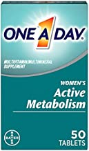 One A Day Women's Active Metabolism Multivitamin, Supplement with Vitamin A, Vitamin C, Vitamin D, Vitamin E and Zinc for Immune Health Support*, Iron, Calcium, Folic Acid & more, 50 Count
