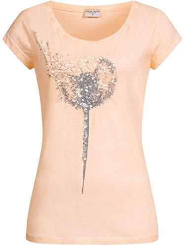 Fresh Made Damen T-Shirt Pusteblume LFM-156/LFM-159 mit Pailletten-Druck Light Peach XL