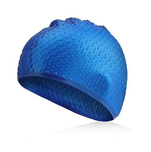 Traling Swimming Cap Adult, Silicone Swim Hat for Men and Women Ladies Long Hair, Vintage Retro Style Bathing Cap, Keep Hair Dry (Blue)