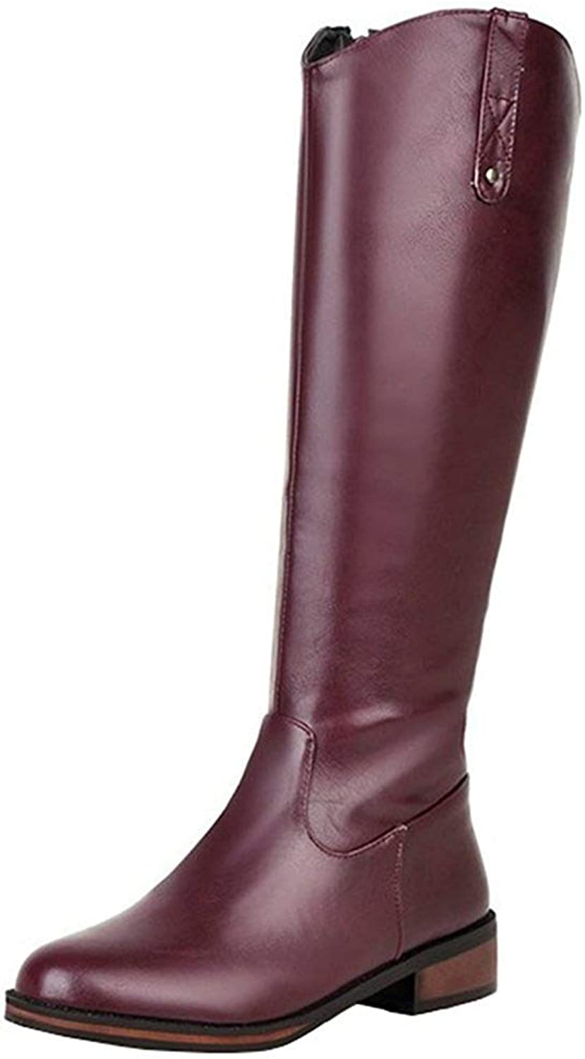 Lelehwhge Women's Stylish Burnished Block Low Heel Round Toe Side Zipper Knee High Riding Boots Red 8 M US