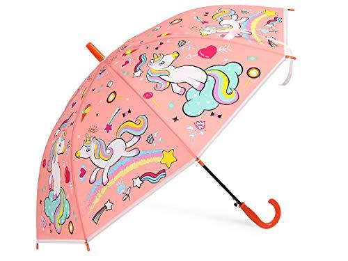 Alsino Regenschirm Kinderregenschirm Einhorn Kinder Regenschirme - Länge: 65 cm & 85 cm Spannweite - Farbe: Orange - Gewicht: 350 g