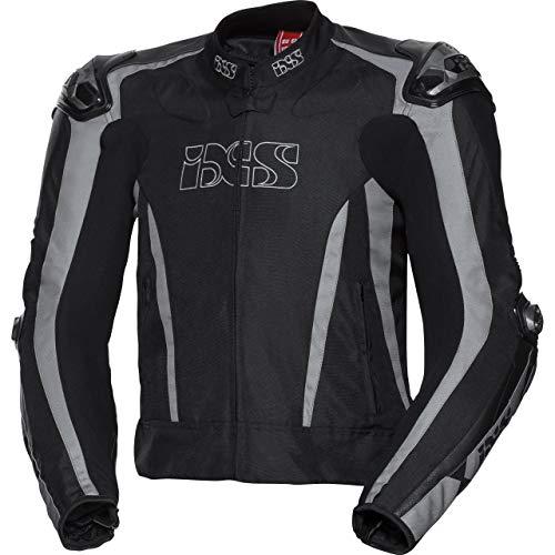 IXS Motorradjacke mit Protektoren Motorrad Jacke Sport Leder-/Textiljacke RS-1000 schwarz/grau 54, Herren, Sportler, Ganzjährig, Leder/Textil
