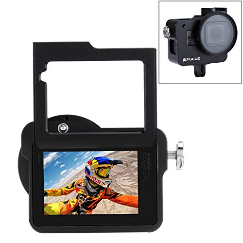 PULUZ for Hero 7 Black New Hero (2018) Hero 6/5 CNC Aluminum Alloy Housing Shell Case Protective Cage with Insurance Frame & 52mm UV Lens (Black)