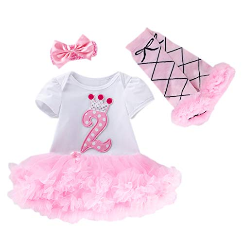 Marlegard - Mallas para bebé de manga larga con tutú de 2º cumpleaños Rosa rosa 24 Meses