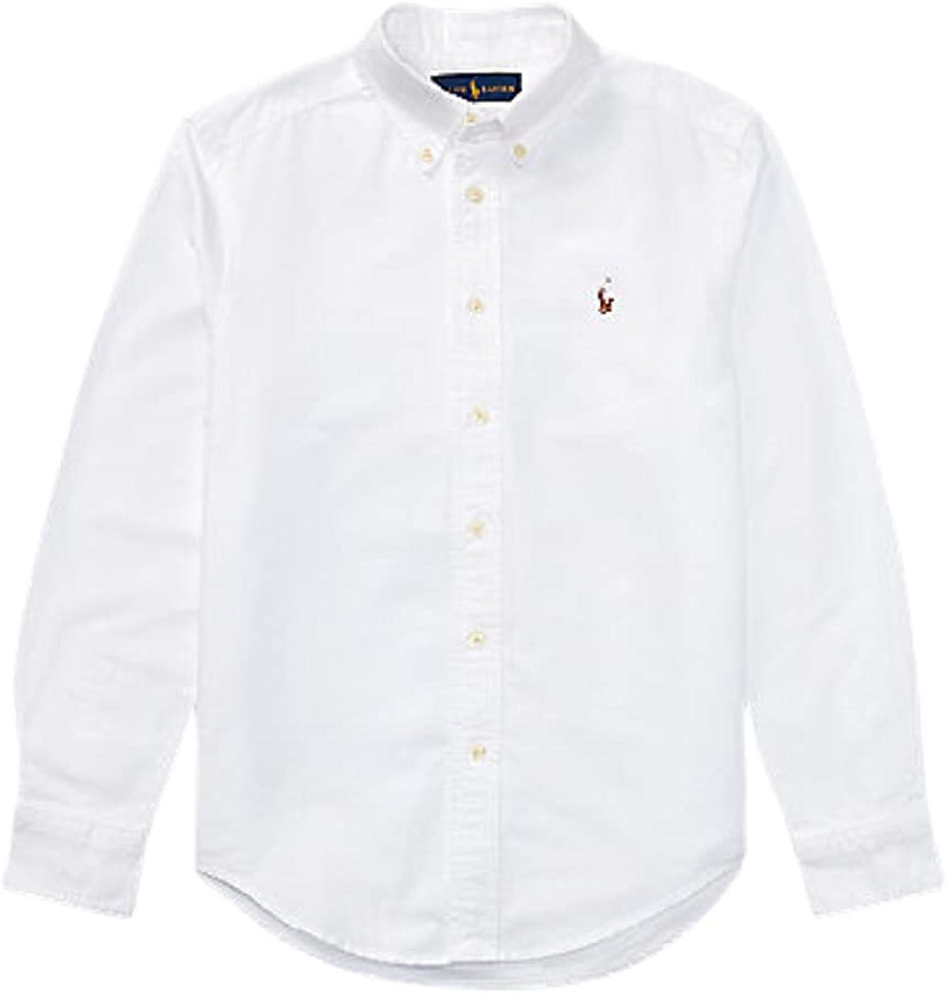 Ralph Lauren White Boy's Long Sleeve Cotton-Blend Shirt, US 4T