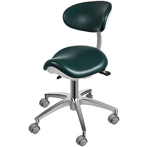 BuoQua Drehshocker Dunkelgrün Standard Dental Mobiler Stuhl Sattel Doktorhocker PU Leder Zahnarztstuhl Dental Hocker Höhenverstellbar für Zahnärzte und Büros