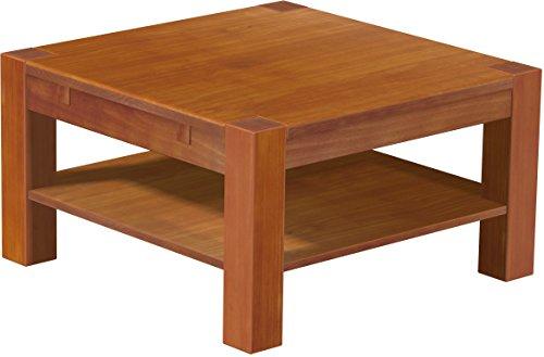 Brasilmöbel Couchtisch Rio Kanto 80x80 cm Kirschbaum mit Ablage Wohnzimmertisch Holz Tisch Pinie Massivholz Stubentisch Beistelltisch Echtholz Größe und Farbe wählbar