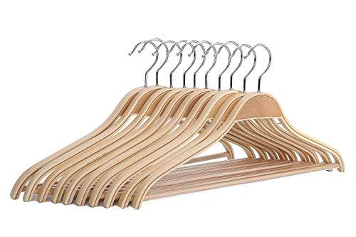 JS HANGER Wooden Coat Hangers 10 Pack Light Weight Wood CoatSuit Hangers with Non-Slip Pant Bar Natural Finish