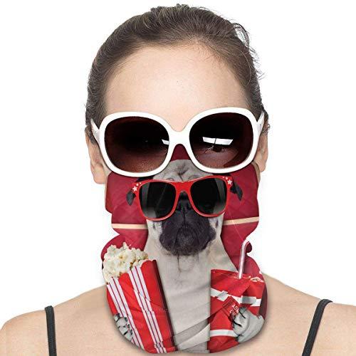 N / A Pasamontañas,Unisex Cubierta De La Cara,Niños Sombreros,Adulto Cuello Pañuelo,Calentador De Cuello,Perro Gracioso Viendo Películas Bandanas Protectoras Sin Costuras