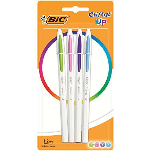 BIC Cristal Up bolígrafos punta media (1,2 mm) – colores de Moda Surtidos, Blíster de 4 unidades