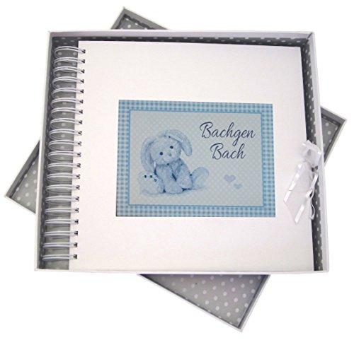 White Cotton Cards du Pays de Galles bébé, Bachgen Bach, Mini Album Photo, Bleu Lapin, Tableau, Blanc, 27 x 30 x 4 cm
