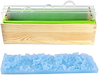 Nicole Silicone Soap Mold Set Handmade Render Loaf Soap Mould with Transparent Vertical Acrylic Dividers & Flower Mat