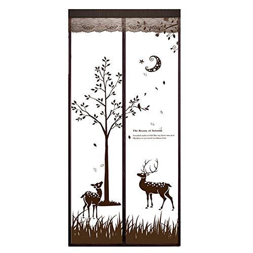 TTXP Kaffee-Elch-Muster Insektenschutz Plissee Tür 90x210cm / 35x82inches Insektenschutzgitter Fenster für Balkon Französisch Türen,Ohne Bohren