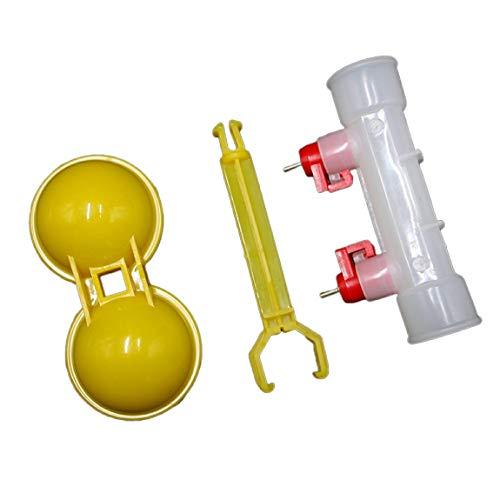 Pumprout Bebederos de pezón de Doble Cabeza, Tazas, Bandeja para Beber, Cuenco, Fuente de Agua, Jaula de plástico automática para Pollitos de un día