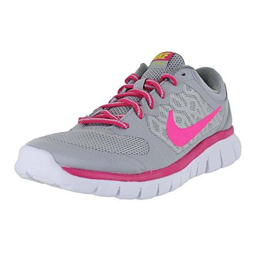 Nike Kids Flex Run 2015 (3.5Y-7Y) Grey Vivid Pink White Pink POW Size 7