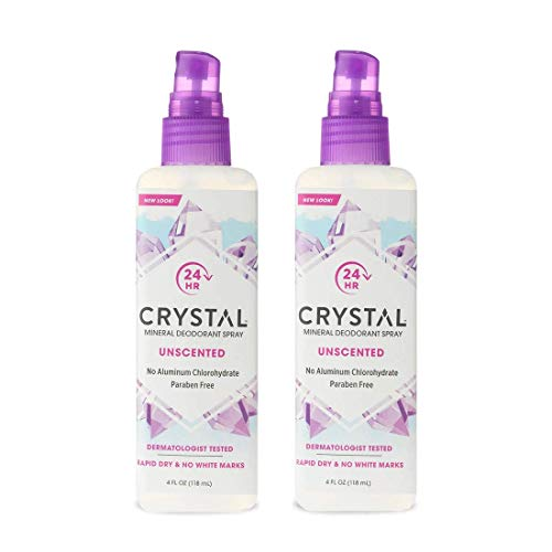 Crystal Mineral Deodorant Spray - Unscented Body Deodorant With 24 Hours Odor Protection, Non-Staining & Non-Sticky, Aluminum Chloride & Paraben Free, (2 Pack)