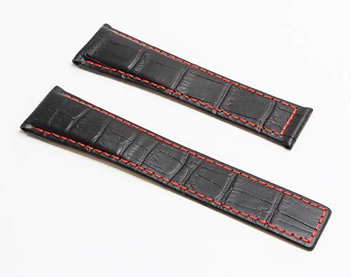 Pulseira de relógio de couro genuíno estilo jacaré preto de 22 mm com costura vermelha para caber no TAG Heuer Monaco, Silverstone & Targa Florio (barras de prata incluídas)