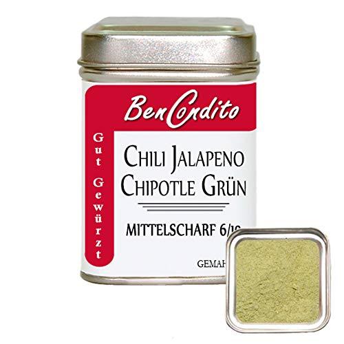 Grünes geräucherte scharfes Jalapeno Chilipulver (Chipotle) - grüne gemahlene Jalapeno Chilischoten   Fa. BenCondito   70 Gramm in der Chilidose