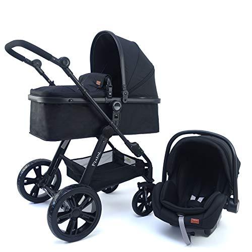 Pixini 3 in 1 Kinderwagen (Arizona Kombikinderwagen 3in1-Set inkl. Babywanne & Buggy & Auto-Babyschale - Alu-Rahmen - Regenschutz/Getränkehalter in schwarz)