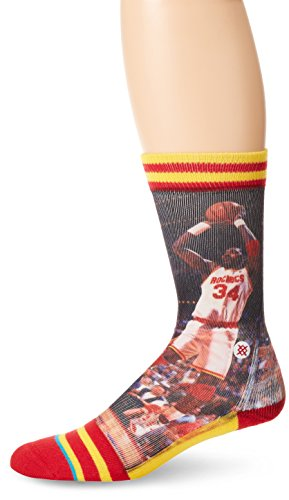 Stance Men's Hakeem Olajuwon Houston Rockets Crew Socks, Red, Sock Size:10-13/Shoe Size: 6-12