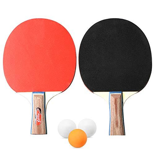 Lixada Tenis de Mesa Juego de 2 Jugadores 2 Raquetas de Palos de Tenis de Mesa con 3 Pelotas de Ping Pong para el Hogar de la Escuela