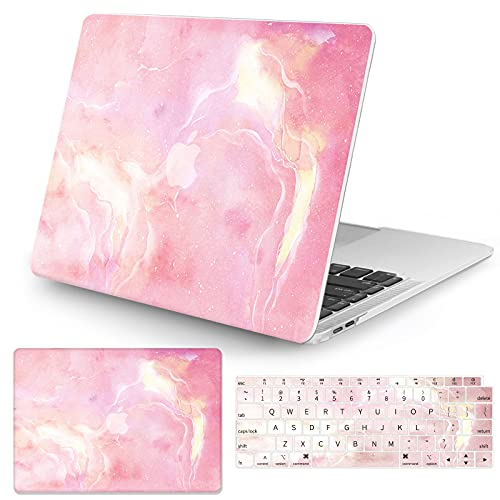 Watbro Compatible with MacBook Air 13 Inch Laptop Case 2020 2019 2018 Release A2337 M1/A2179/A1932 ,Marble&Watercolor Painting Case with Keyboard Cover Skin for MacBook Air 2020 with Touch ID