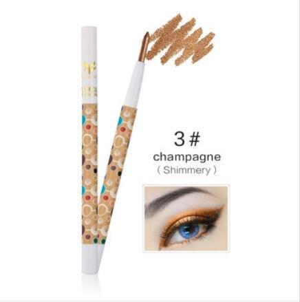 Bluelover Huamianli 1Pc Imperméable À l'eau Surligneur Scintillement Ombre À Paupières Plume Matte Crayon Outil Maquillage - #03