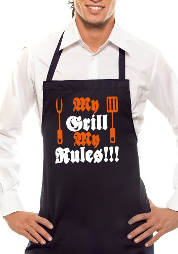 My Grill My Rules-Bicolore-Tablier Noir/Orange/Blanc