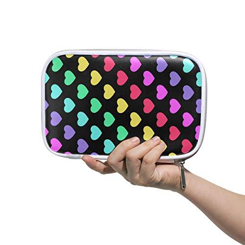 Makeup Bag Kids Bright 80 S Style Rainbow Hearts Bathroom Cosmetic Bag Makeup Bags Multifunctional Makeup Bag for Girls for Men Women