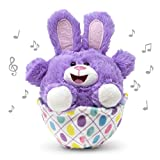 Cuddle Barn   Eggcited Eggie 7' Bunny Rabbit Animated Stuffed Animal Plush Toy   Easter Bunny in Vibrant Purple Sitting in Easter Egg Scoots Around   Singing The Bunny Hop (Candy Shop)