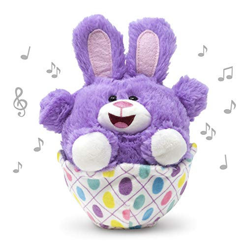 Cuddle Barn | Eggcited Eggie 7' Bunny Rabbit Animated Stuffed Animal Plush Toy | Easter Bunny in Vibrant Purple Sitting in Easter Egg Scoots Around | Singing The Bunny Hop (Candy Shop)