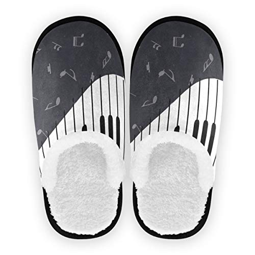 Modern Art Music Note With Piano Keyboard Unisex Slippers For Travel Spa Hotel,Indoor House Slipper Shoes Footwear Sandals