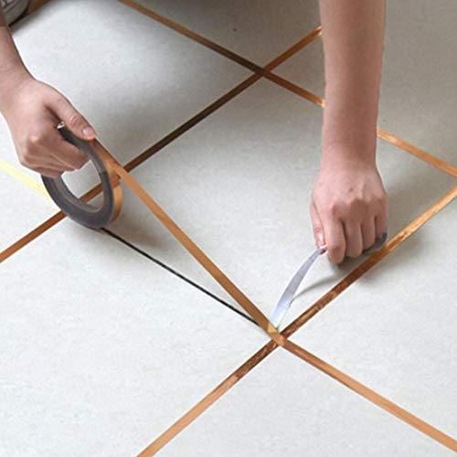 Gold, Silber Nahtlinie Tile Selbstverklebung Heimwasserdicht Fußboden-Aufkleber Badezimmer-Dekor Wasserdicht 50m (Color : Gold foil, Size : Small)