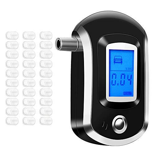 Alkoholtester, professioneller Alkoholtester mit blauem hintergrundbeleuchtetem LCD Display und 30 Mundstücken für den Heim oder Außengebrauch