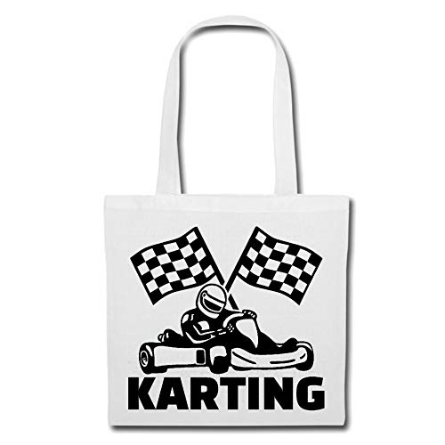 Tasche Umhängetasche GO Kart - Karting - GO Kart Fahren - Kart Racing - GO KARTHELM Einkaufstasche Schulbeutel Turnbeutel in Weiß