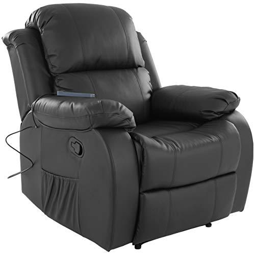 RABURG Fernsehsessel HANNE mit elektrischer Massage - Schlafsessel XXL mit mechanischer Liege- & Relaxfunktion Easy-Lift, aus Soft-Touch-Kunstleder in SCHWARZ + leichte Wärme-Funktion