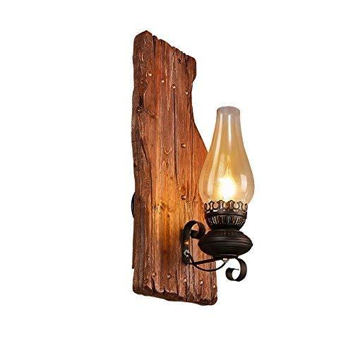 HG-JIAJUR wandlamp antieke stijl brons lampenkap E27 van hout en metaal industriële lamp wandlamp voor slaapkamerlamp woonkamer eetkamer hallamp gang keuken (zonder gloeilamp)