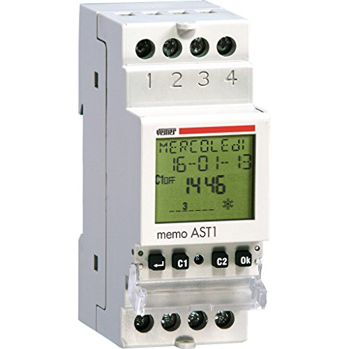 Vemer VE344800- Riel DIN programable con interruptor crepuscular astronómico Memo Ast1 con interfaz NFC, gris claro