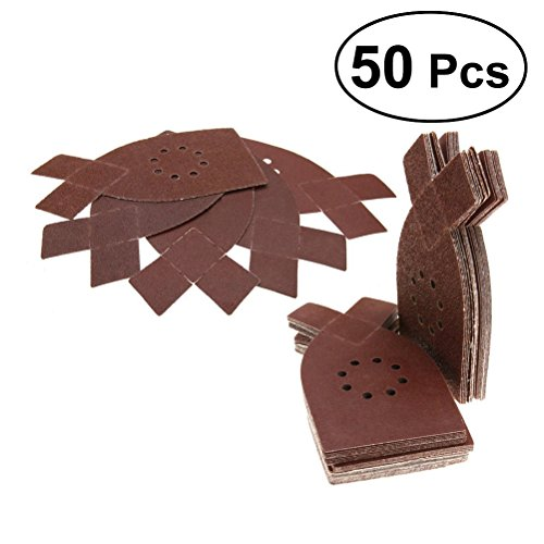 UEETEK 50 Stück Schleifdreiecke Schleifpapier für Dreieckschleifer 8 Loch Körnung 40/60/80/100/120